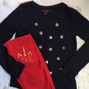 Cat & Jack Wowser Red Caticorn leggings w star top